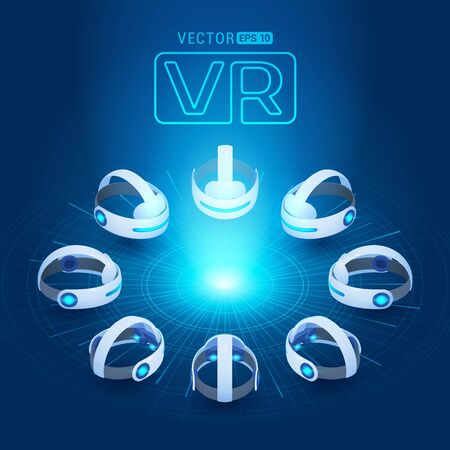 Isometric virtual reality headset against the dark-blue background with the abstract circles and light