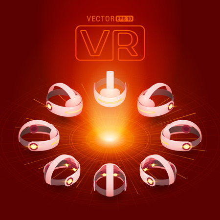 Isometric virtual reality headset against the dark-red background with the abstract circles and light