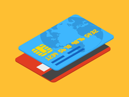 credit card payment: Isometric credit card against the orange background
