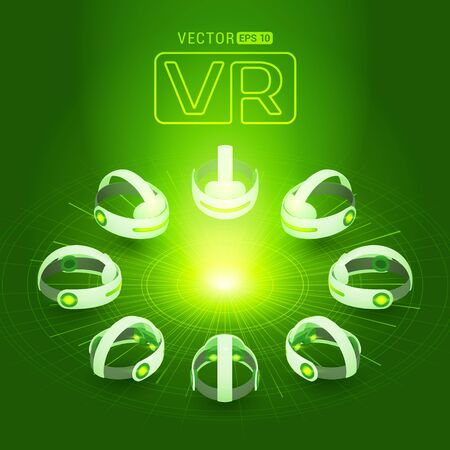 Isometric virtual reality headset against the dark-green background with the abstract circles and light