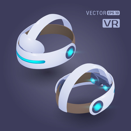 Isometric virtual reality headset against the dark-violet background. The objects are shown from two sides Vectores