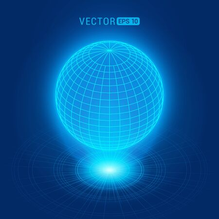 Holographic globe against the blue abstract background with circles and light source Illustration