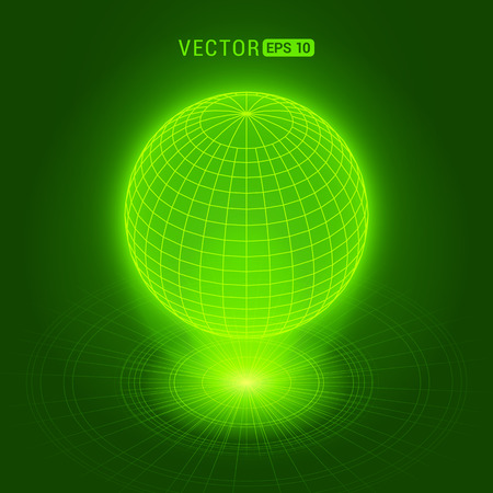 holograph: Holographic globe against the green abstract background with circles and light source