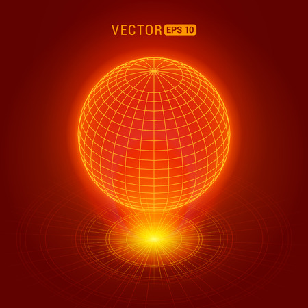 Holographic globe against the red abstract background with circles and light source