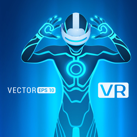 A man in a virtual reality helmet. Futuristic males figure in a VR headset against the blue abstract background