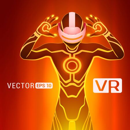 A man in a virtual reality helmet. Futuristic males figure in a VR headset against the red abstract background Illustration