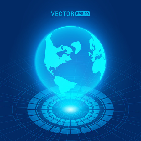holograph: Holographic globe with continents against the dark-blue abstract background with circles and light source Illustration