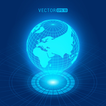 Holographic globe with continents against the dark-blue abstract background with circles and light source Illustration