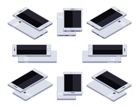 android tablet: Set of the lying isometric generic white smartphones. The objects are isolated against the white background and shown from different sides