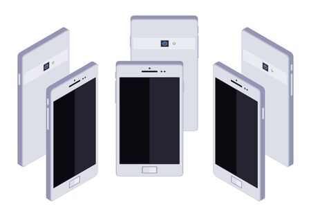 android tablet: Set of the standing isometric generic white smartphones. The objects are isolated against the white background and shown from different sides