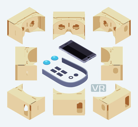 headset: Isometric parts of the cardboard virtual reality headset. The objects are isolated against the white background and shown from different sides