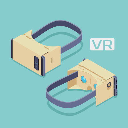 Set of the isometric cardboard virtual reality headsets. The objects are isolated against the teal background and shown from two sides