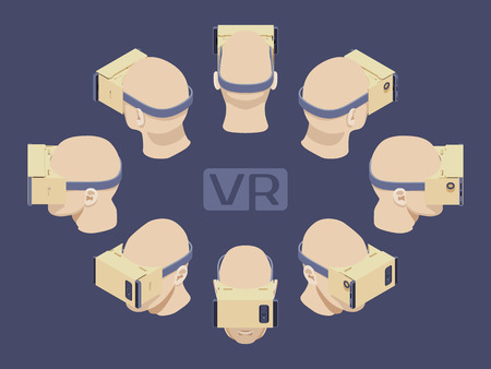 VIRTUAL REALITY: Set of the isometric cardboard virtual reality headsets. The objects are isolated against the dark-violet background and shown from different sides Illustration