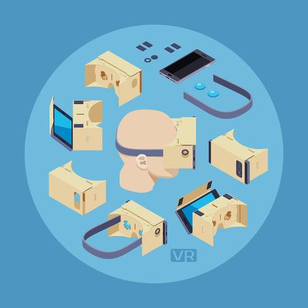 Karton Virtual Reality Headset gegen den blauen Hintergrund. Konzeptionelle Darstellung für Werbung und Verkaufsförderung Illustration