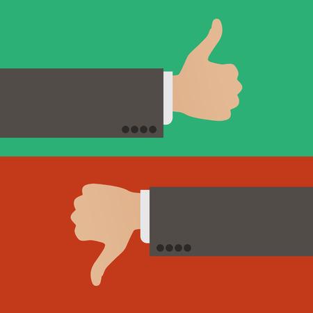 Like and Dislike. A hand with the thumb raised up and a hand with the thumb lowered down