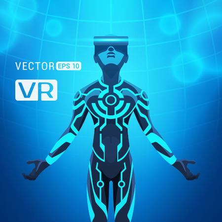 가상 현실 헬멧에 남자가있다. 미래의 남성은 블루 추상적 인 배경에 대해 VR 헤드셋 그림