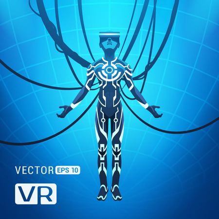 rift: Man in a virtual reality helmet. Futuristic males figure in a VR headset against the blue abstract background