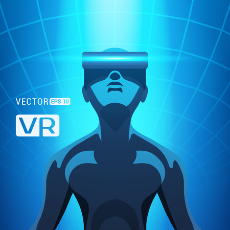 Man in a virtual reality helmet. Futuristic males figure in a VR headset against the blue abstract background