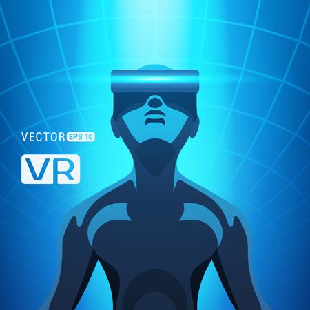 Mann in einer Virtual-Reality-Helm. Futuristische männliche Figur in einer VR-Headset vor dem blauen abstrakten Hintergrund