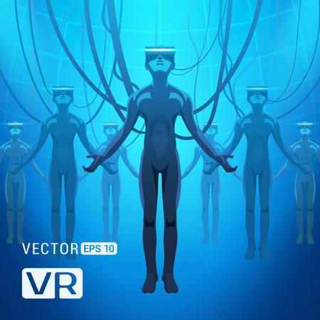 Men in a virtual reality helmets. Futuristic males figures in a VR headsets against the blue abstract background