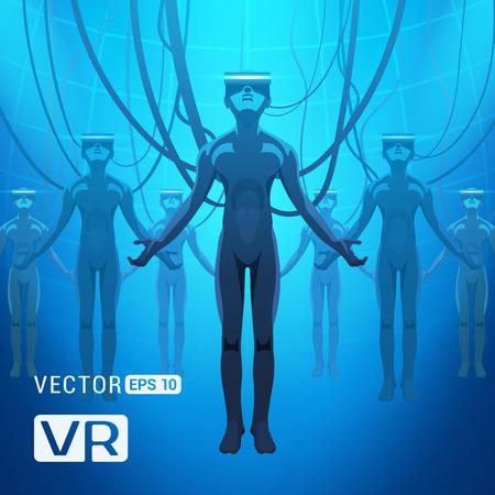 Hommes dans un casque de réalité virtuelle. Mâles futuristes chiffres dans une casques VR contre l'abstrait fond bleu Vecteurs