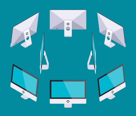 Set of the isometric generic monoblock computers. The objects are isolated against the dark-teal background and shown from different sides
