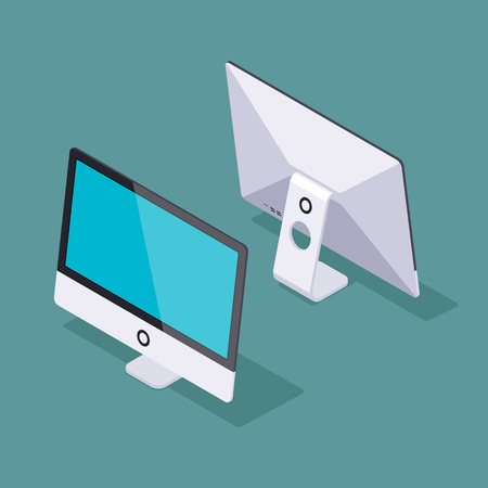 Set of the isometric generic monoblock computers. The objects are isolated against the teal background and shown from two sides