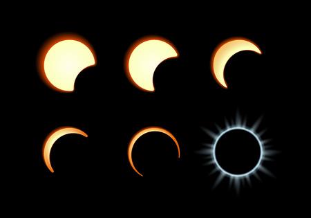 sol y luna: Fase del eclipse solar. Luna cubre el disco solar
