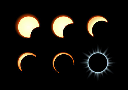 Phase of the solar eclipse. Moon covers the solar disk