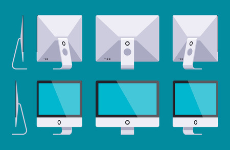 monoblock: Set of the generic monoblock computers. The objects are isolated against the dark-teal background and shown from different sides Illustration