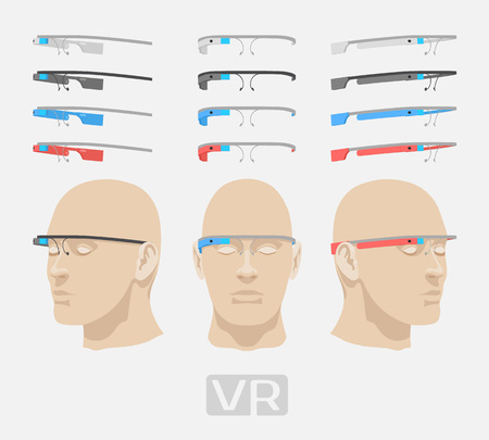 Augmented reality glasses of different colors. The objects are isolated against the white background and shown from different sides
