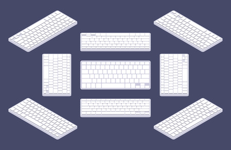 keyboard: Isometric generic white computer keyboard with blank keys. The objects are isolated against the blue background and shown from different sides Illustration