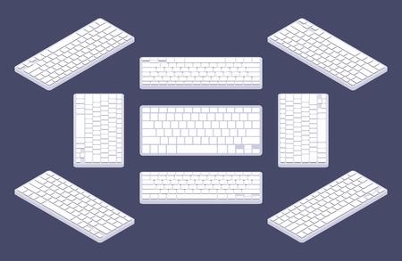 keyboard: Teclado de la computadora isom�trica gen�rico blanco con teclas en blanco. Los objetos est�n aislados contra el fondo azul y se muestran desde diferentes lados Vectores