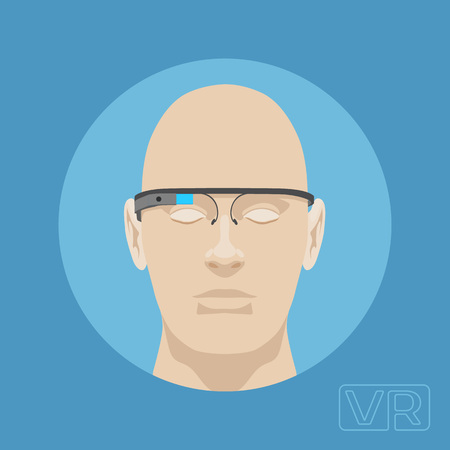 augmentation: Head of a man with augmented reality glasses. Illustration suitable for advertising and promotion