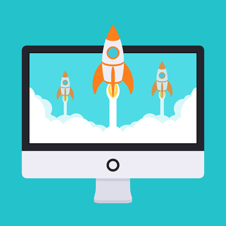 cartoon rocket: Startup illustration. Rockets takes off from the monitor in clouds of white smoke. Conceptual illustration suitable for advertising and promotion