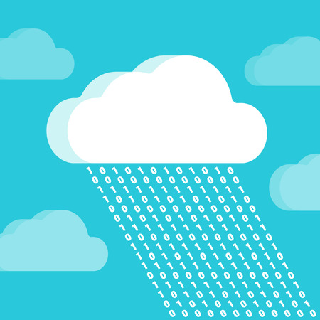 Cloud and rain consisting of numbers against the teal background. Conceptual illustration suitable for advertising and promotion Vector