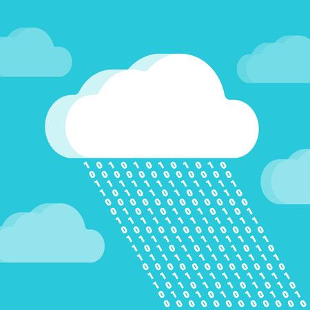 codigo binario: Nube y la lluvia que consiste de números contra el fondo del trullo. Ilustración conceptual adecuado para la publicidad y promoción Vectores