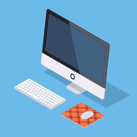 Isometric monoblock computer with white keyboard and computer mouse on the rug against the blue background. Illustration suitable for advertising and promotion Illustration