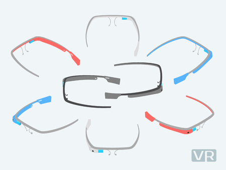 augmentation: Isometric augmented reality glasses of different colors. The objects are isolated against the white background and shown from different sides