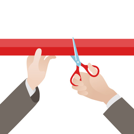 Hand with scissors cut the red ribbon against the white background. Illustration suitable for advertising and promotion Illustration