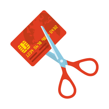 Red credit card cutting by the scissors. Illustration suitable for advertising and promotion