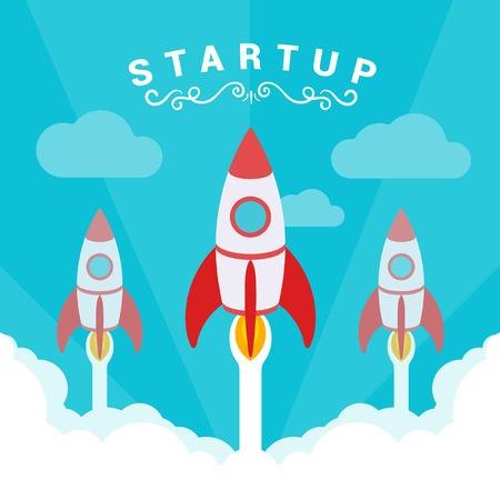 Startup illustratie. De raketten neemt af tegen de blauwe lucht en de wolken van witte rook. Conceptuele illustratie geschikt voor reclame en promotie