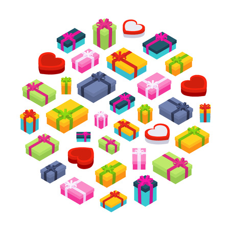 Isometric colored gift boxes against the white background. Illustration suitable for advertising and promotion Vector