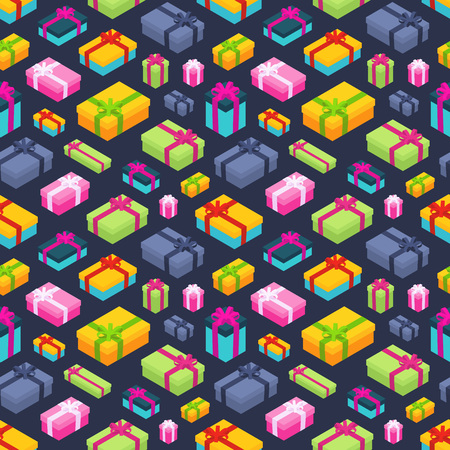 Seamless pattern with the isometric colored gift boxes. The layout is fully editable