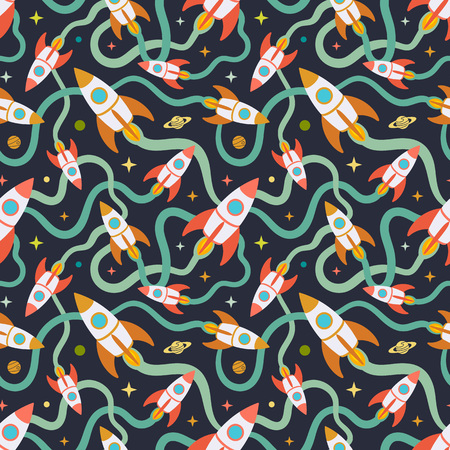 vapor trail: Seamless pattern with the cartoon rockets against the dark background. The layout is fully editable Illustration