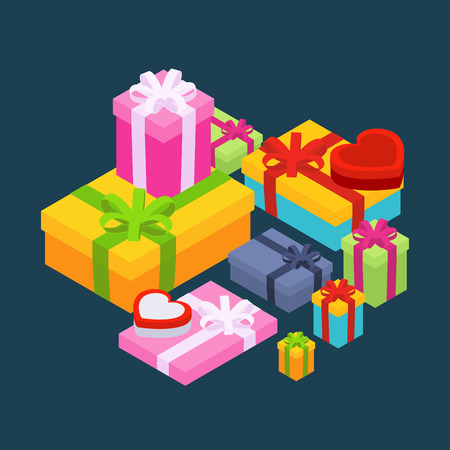 Isometric colored gift boxes against the dark-blue background. Illustration suitable for advertising and promotion