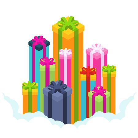 Isometrische gekleurde geschenkdozen. Illustratie geschikt voor reclame en promotie