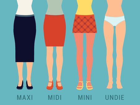 skirts: Set of various skirts against the blue background. Illustration suitable for advertising and promotion