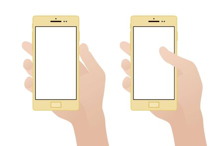 Hand holding smartphone with blank screen against the white background Vector