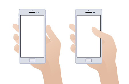 Hand holding smartphone with blank screen against the white background